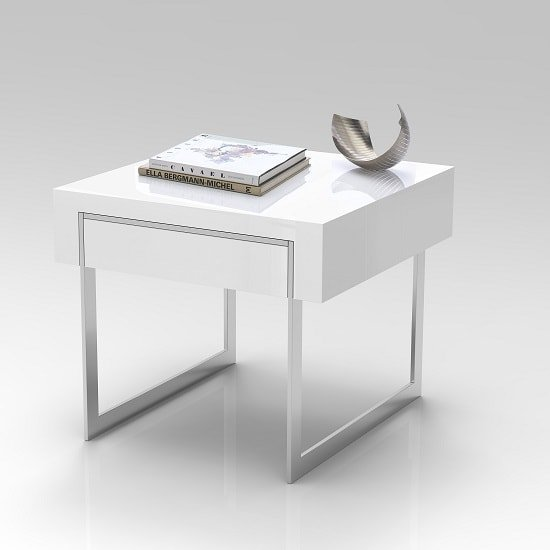 Casa Side Table In White Gloss With Chrome Legs And Drawer_5