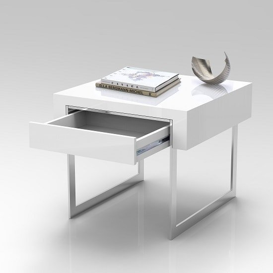 Casa Side Table In White Gloss With Chrome Legs And Drawer_2