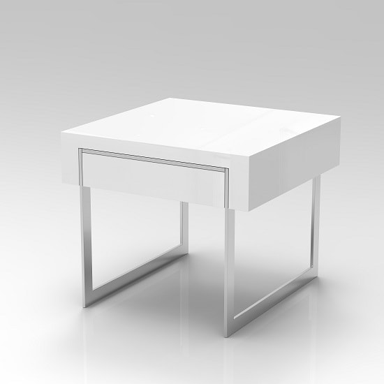 Casa Side Table In White Gloss With Chrome Legs And Drawer_3