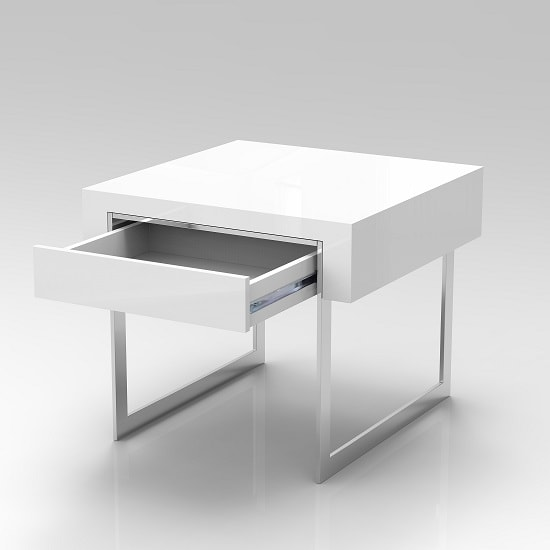 Casa Side Table In White Gloss With Chrome Legs And Drawer_4