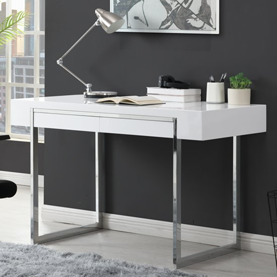 Casa High Gloss 2 Drawers Computer Desk In White