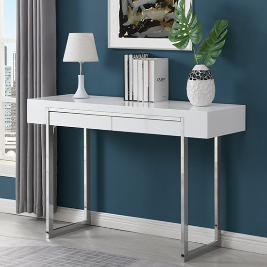 View Casa high gloss 2 drawers console table in white