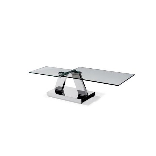 Casas Extendable Glass Coffee Table Rectangular And Silver Base