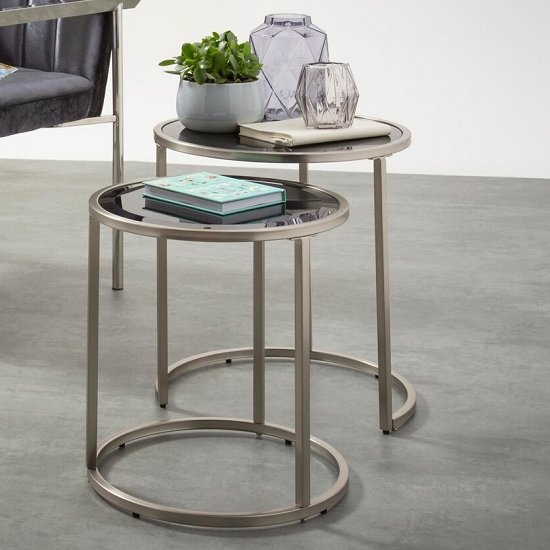 Casas Glass Nest Of 2 Tables In Black With Satin Plated Base