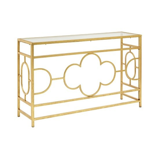 Cascade Glass Console Table Rectangular In Clear And Gold Leaf