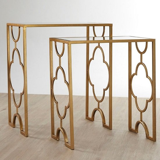 Cascade Set Of 2 Side Tables In Mirrored Glass And Gold Leaf