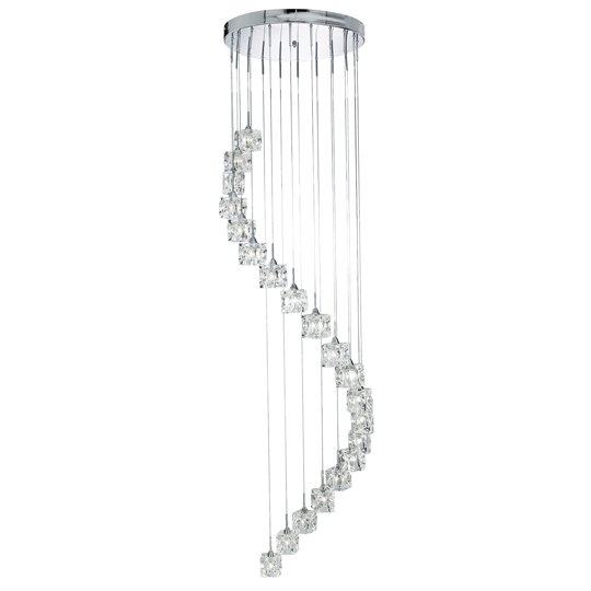 Cascading 20 Light LED Ice Cube Multi-Drop Fitting Ceiling Light