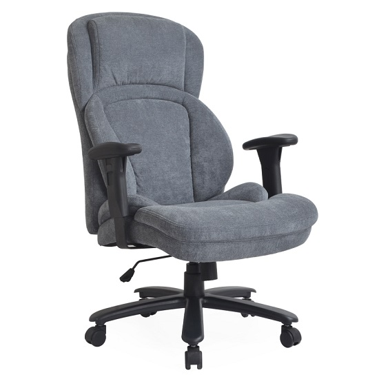 Casden Fabric Office Chair In Grey With Nylon Black Casters