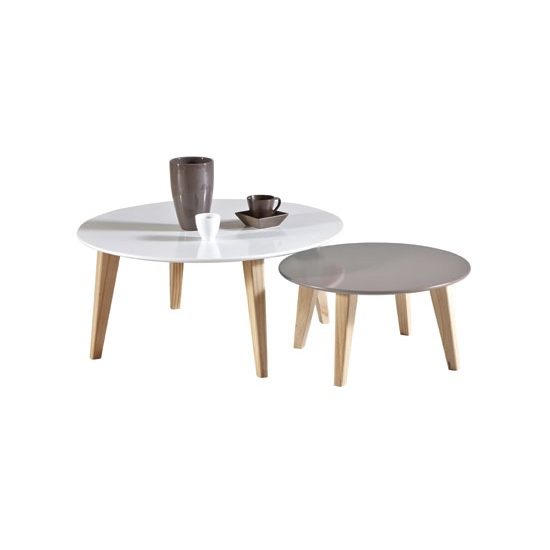 Casey Wooden Set Of 2 Coffee Table In White And Taupe