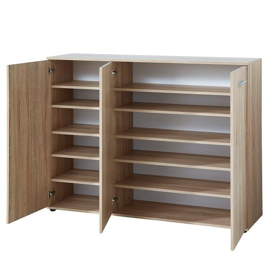 Casey Wooden Shoe Cabinet In Sonoma Oak With 3 Doors_2