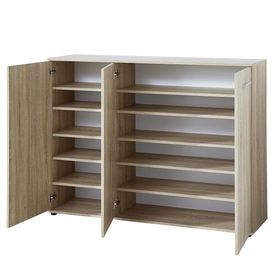 Casey Wooden Shoe Cabinet In Sonoma Oak With 3 Doors 31571