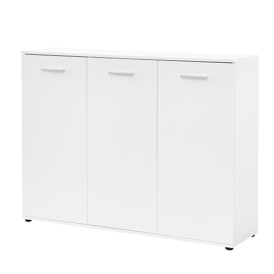 Casey Modern Shoe Storage Cabinet In White With 3 Doors_4