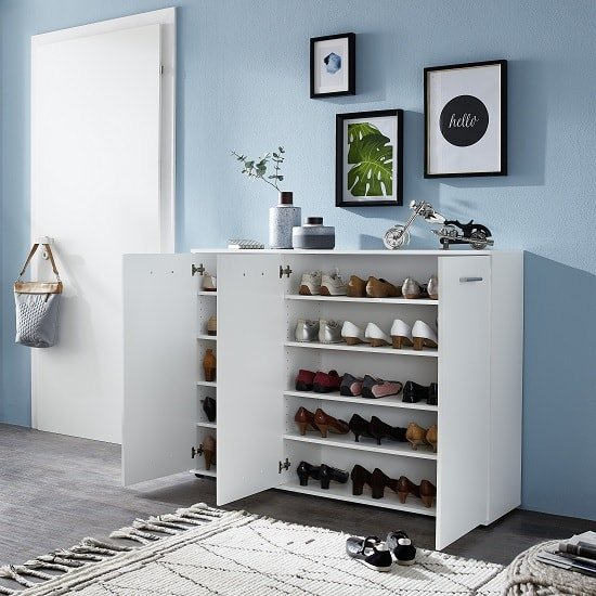 Casey Modern Shoe Storage Cabinet In White With 3 Doors_5