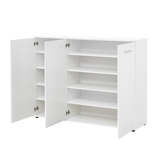 Casey Modern Shoe Storage Cabinet In White With 3 Doors_6