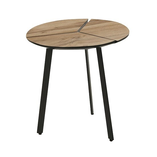 Cashel Round Lamp Table In Oak Effect With Black Legs