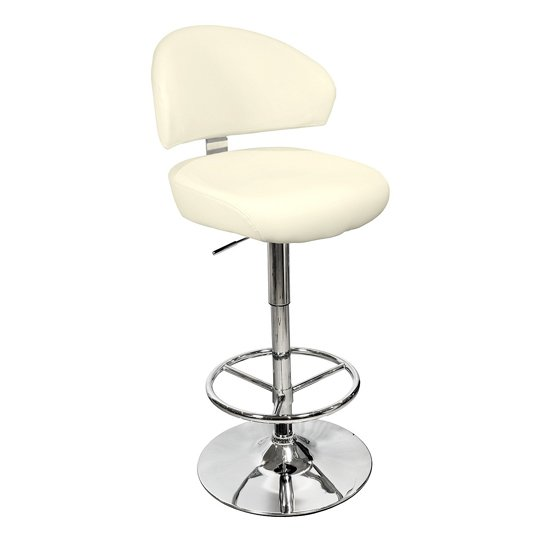 Casino Cream Leather Bar Stool With Chrome Base