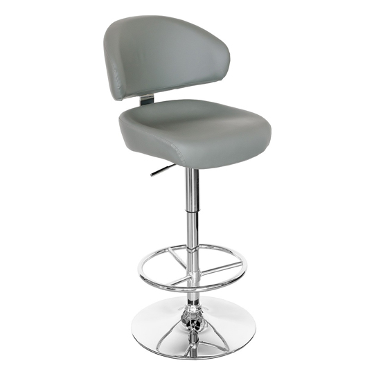 Casino Grey Leather Bar Stool With Chrome Base