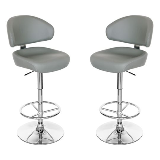 Casino Grey Leather Bar Stool In Pair