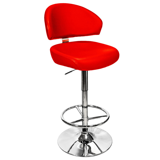 Casino Red Leather Bar Stool With Chrome Base