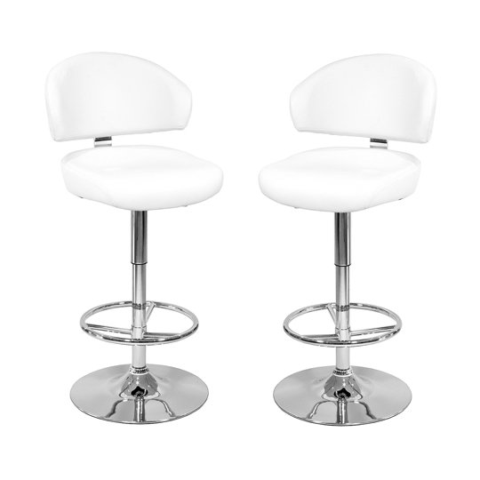 Casino White Leather Bar Stool In Pair