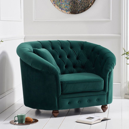 Casiop Chesterfield Plush Fabric Upholstered Armchair In Green_1