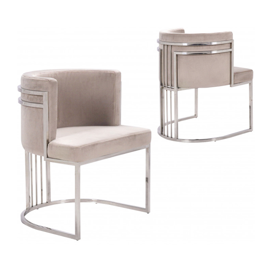 Casoli Beige Velvet Dining Chairs In Pair With Silver Legs