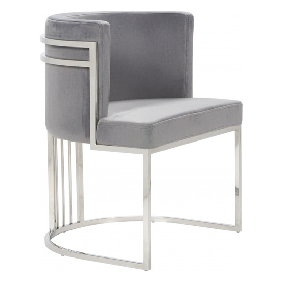 Casoli Velvet Dining Chair In Grey With Silver Legs