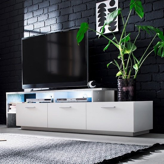 Caspa TV Stand In Matt White And Stone Grey With LED Lighting_1