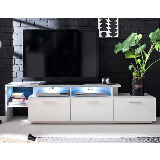 Caspa TV Stand In Matt White And Stone Grey With LED Lighting_2