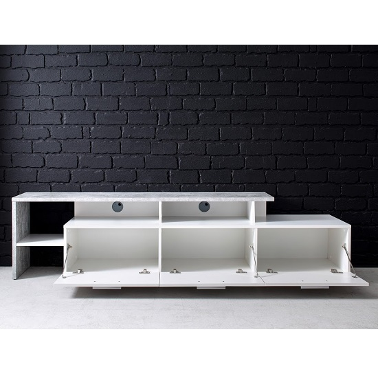 Caspa TV Stand In Matt White And Stone Grey With LED Lighting_3