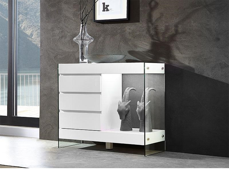 Caspa Sideboard In Matt White And Glass With 2 Doors 5