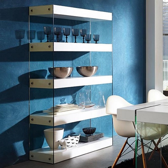 Caspa Bookshelf 3 Shelf With Matt White And Glass