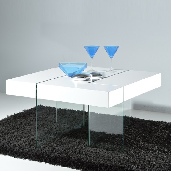 Caspa Modern Coffee Table In White Matt Top With Glass Base