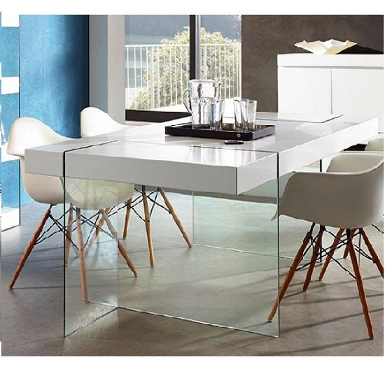 Caspa Dining Table In Glass And White Matt Only