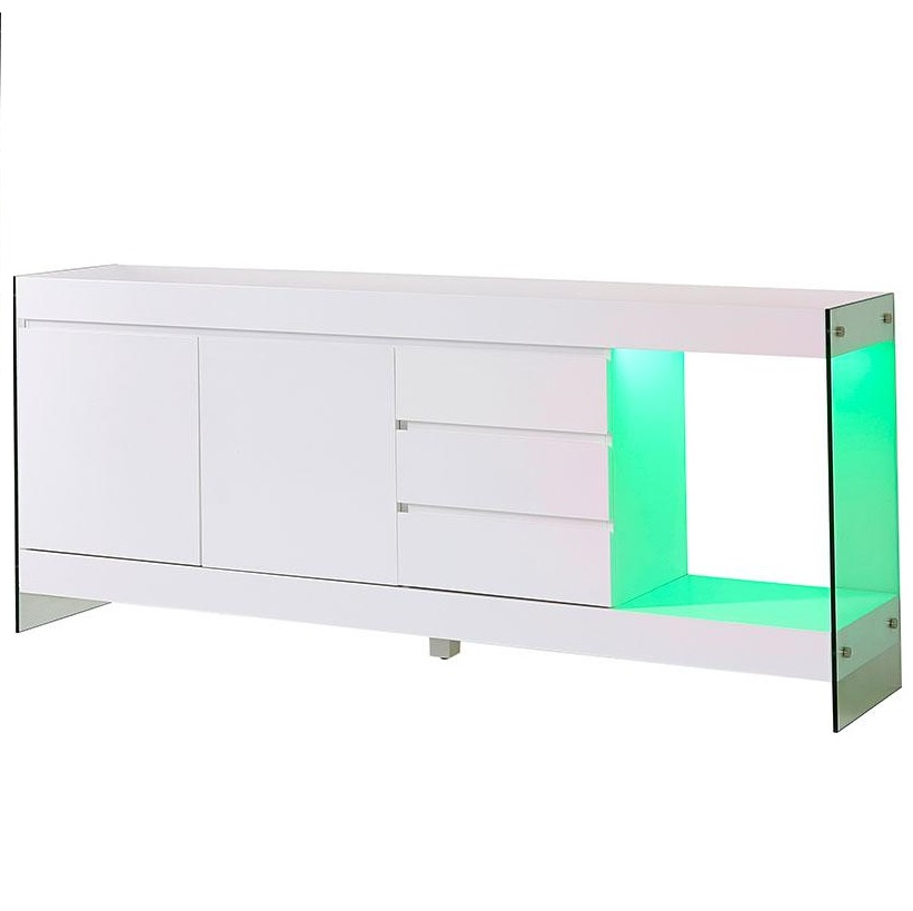Caspa Sideboard In Matt White And Glass With 2 Doors