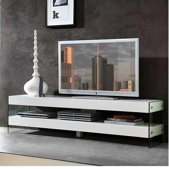 Caspa Tv Unit In Glass With Matt White Shelves