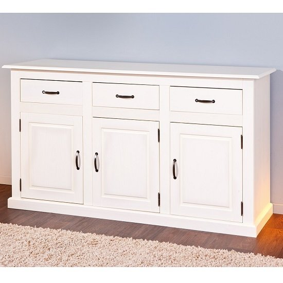 Cassala3 White Wooden SideBoard With 3 Drawers And 3 Door_4