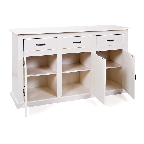 Cassala3 White Wooden SideBoard With 3 Drawers And 3 Door_3