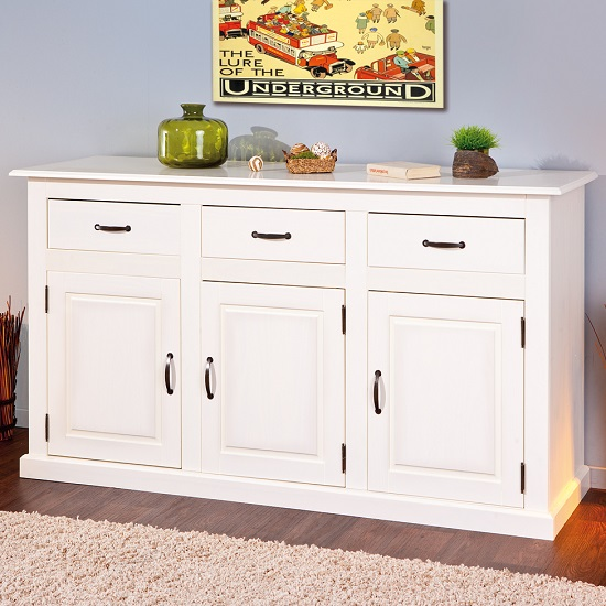 Cassala3 White Wooden SideBoard With 3 Drawers And 3 Door_5