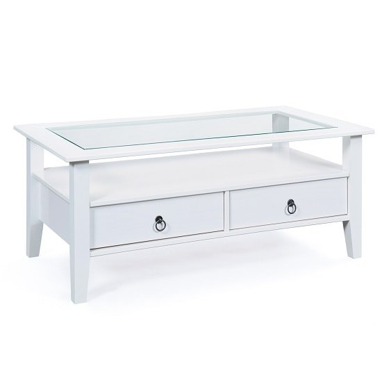 Cassala Glass Top Coffee Table In White With 2 Drawers