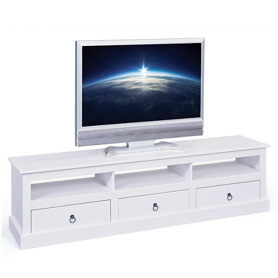 Cassala Wooden TV Stand In White With 3 Drawers