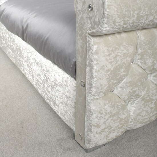 Cassi Modern Single Bed In Pearl Crushed Velvet And Chrome Feet_4