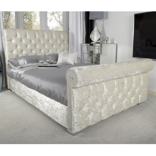 Cassi Modern Single Bed In Pearl Crushed Velvet And Chrome Feet_1