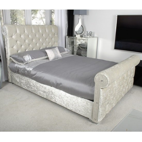 Cassi Modern Double Bed In Pearl Crushed Velvet And Chrome Feet