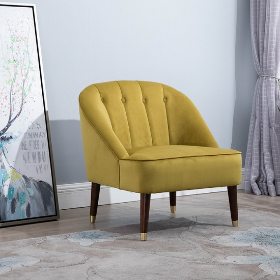 Wondrous 23 Off Cassia Fabric Accent Chair In Mustard With Wooden Pabps2019 Chair Design Images Pabps2019Com
