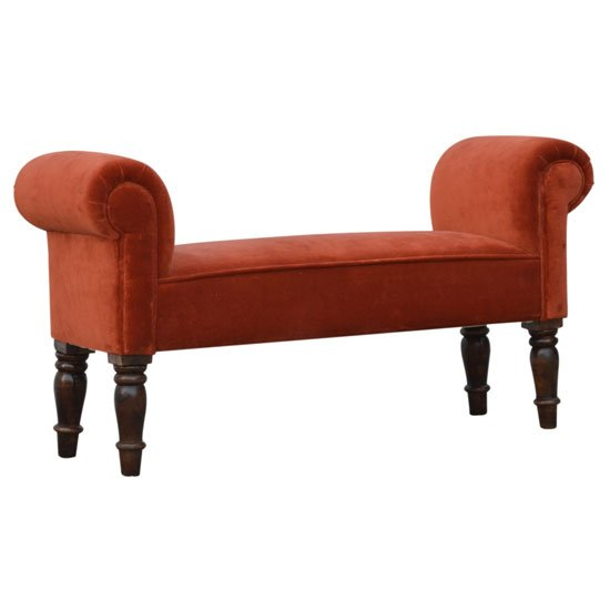 Cassia Velvet Hallway Seating Bench In Brick Red