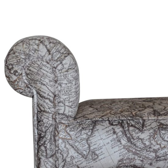 Cassia Velvet Hallway Seating Bench In Map Printed_3