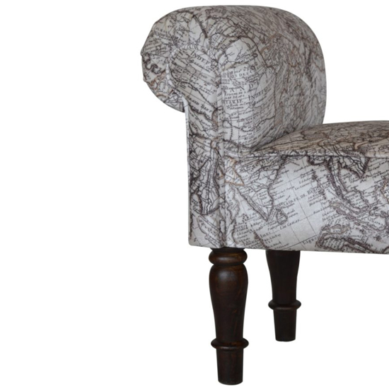 Cassia Velvet Hallway Seating Bench In Map Printed_4