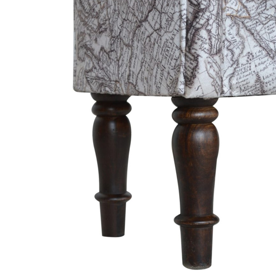 Cassia Velvet Hallway Seating Bench In Map Printed_5