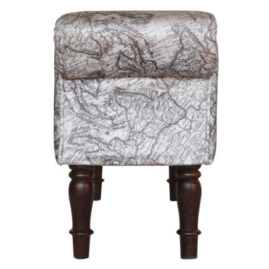 Cassia Velvet Hallway Seating Bench In Map Printed_6
